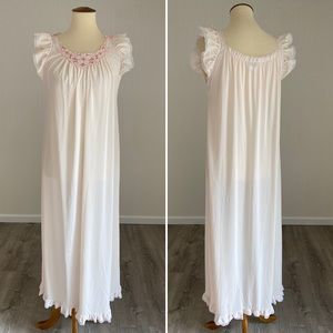Soft Pink Miss Elaine Vintage Maxi Nightgown Lace
